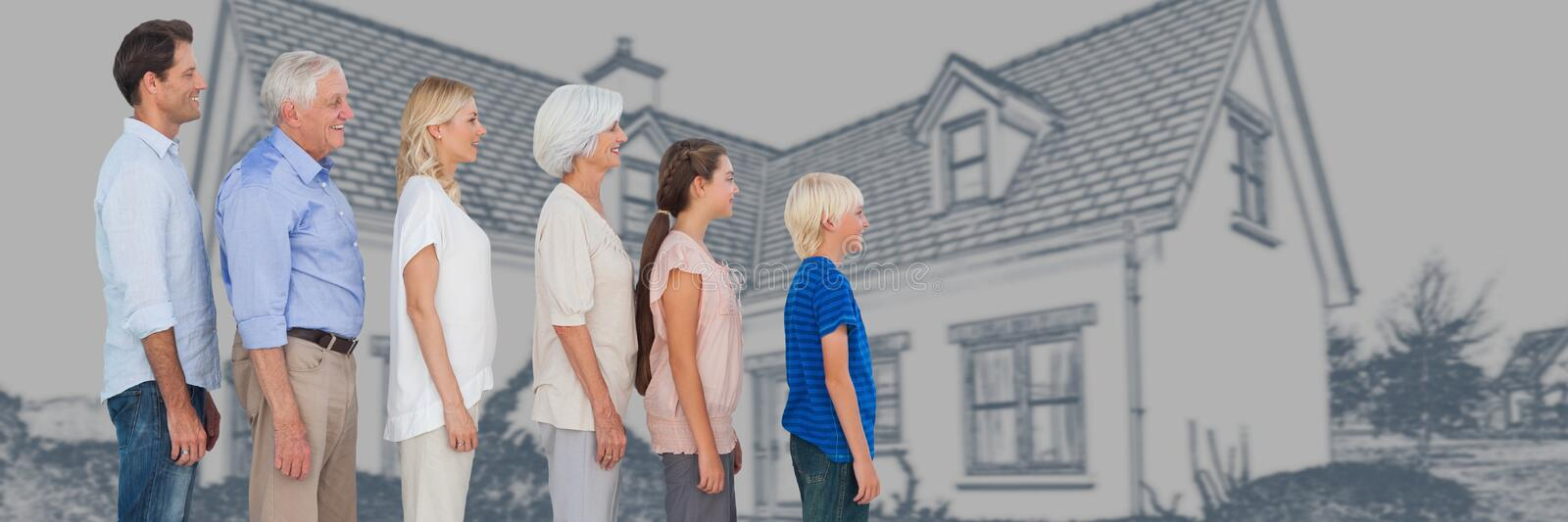 Family generations descending in height in front of house drawing sketch royalty free stock images