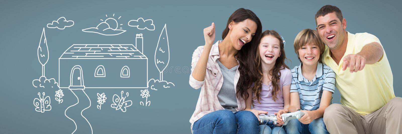 Family having fun together with home drawing vector illustration