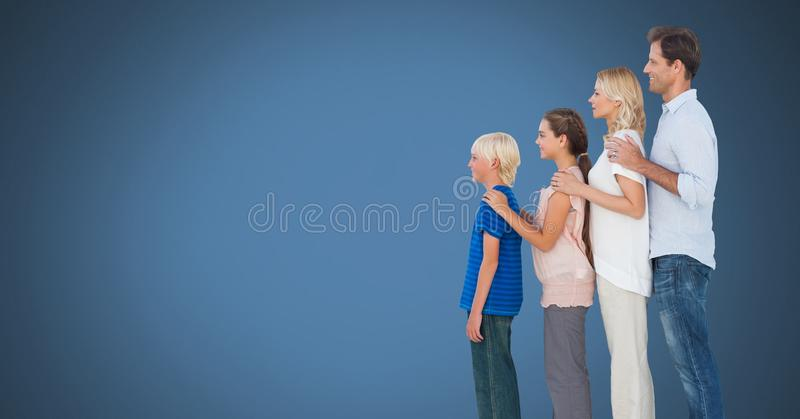 Family together with blue background stock image