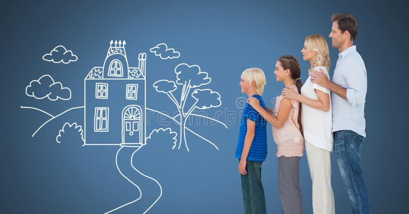 Family together with home drawing vector illustration
