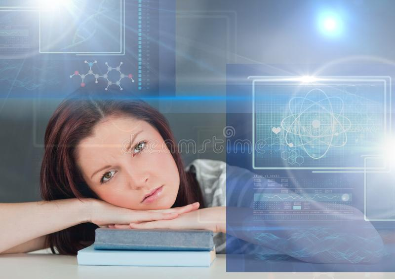 Female Student studying with book and science education interface graphics overlay. Digital composite of Female Student studying with book and science education royalty free illustration