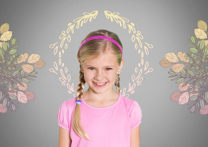 Girl against grey background with braided hair and pretty flower patterns royalty free illustration
