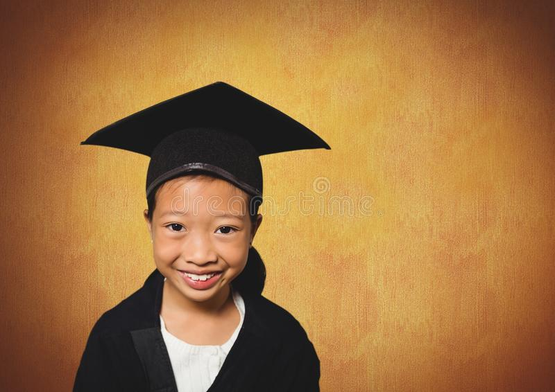 Girl in graduation wear with rustic background. Digital composite of Girl in graduation wear with rustic background stock image