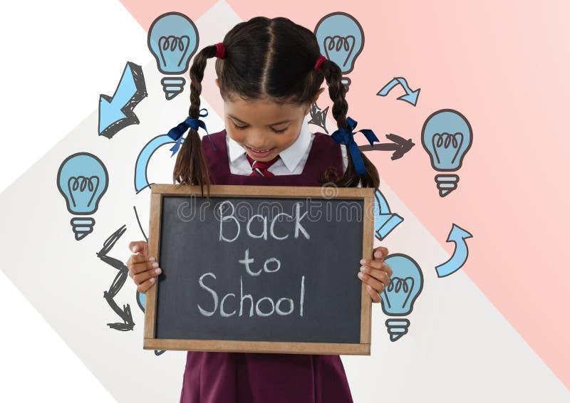 Girl holding back to school blackboard with light bulbs stock photos