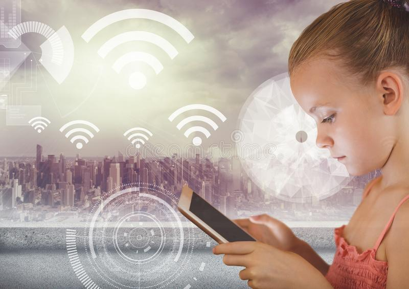 Girl Holding tablet and City with wifi icons. Digital composite of Girl Holding tablet and City with wifi icons royalty free illustration