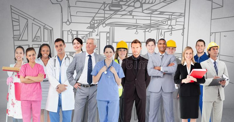 Group of people with different professions standing in front of factory drawing vector illustration