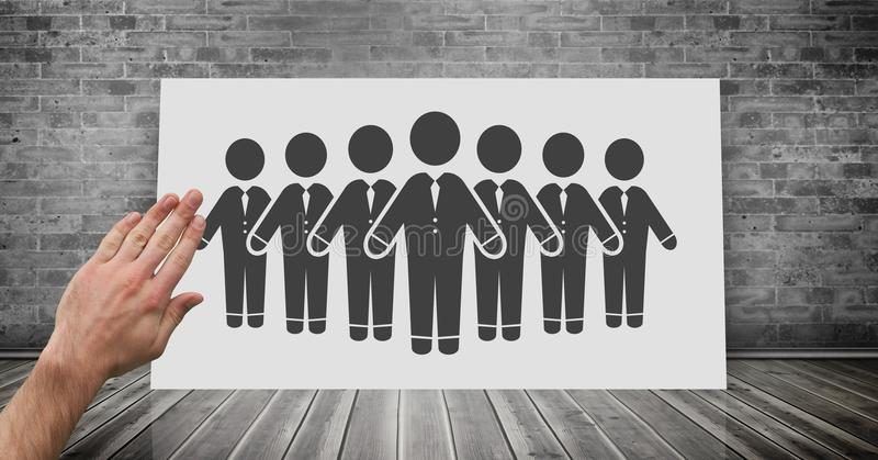 Hand touching business people group icon on board vector illustration