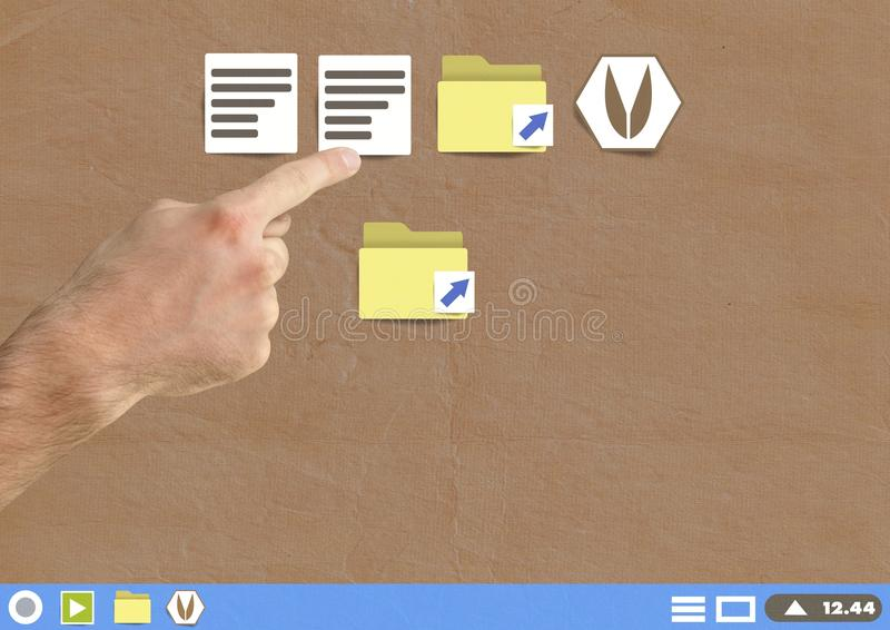 Hand touching Folder and files icons on Paper cut out desktop. Digital composite of Hand touching Folder and files icons on Paper cut out desktop royalty free stock photo