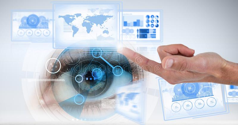 Hand touching and interacting with technology interface panels with eye. Digital composite of Hand touching and interacting with technology interface panels with royalty free stock image
