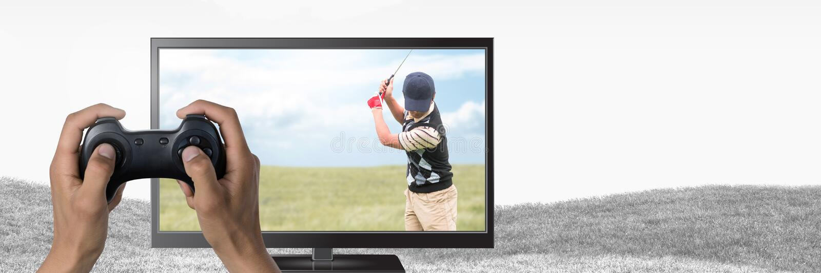 Hands holding gaming controller with golf player on television. Digital composite of Hands holding gaming controller with golf player on television royalty free stock image