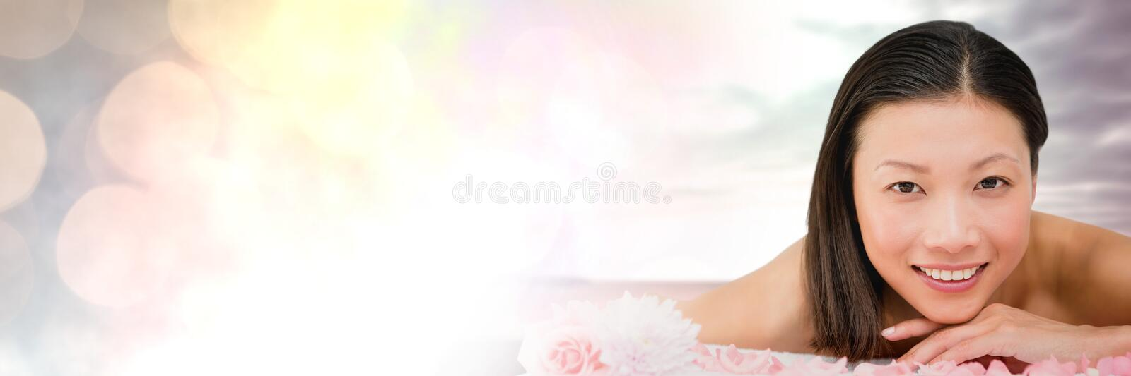 Happy spa woman relaxed with sky with transition royalty free stock images