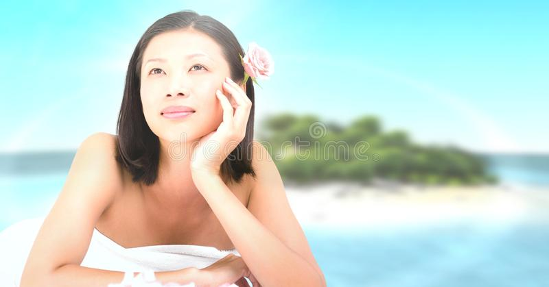 Happy spa woman relaxed with tropical paradise sea royalty free stock image