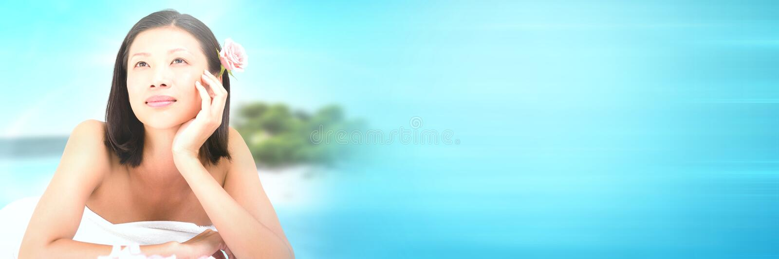 Happy spa woman relaxed with tropical paradise sea with transition royalty free stock images