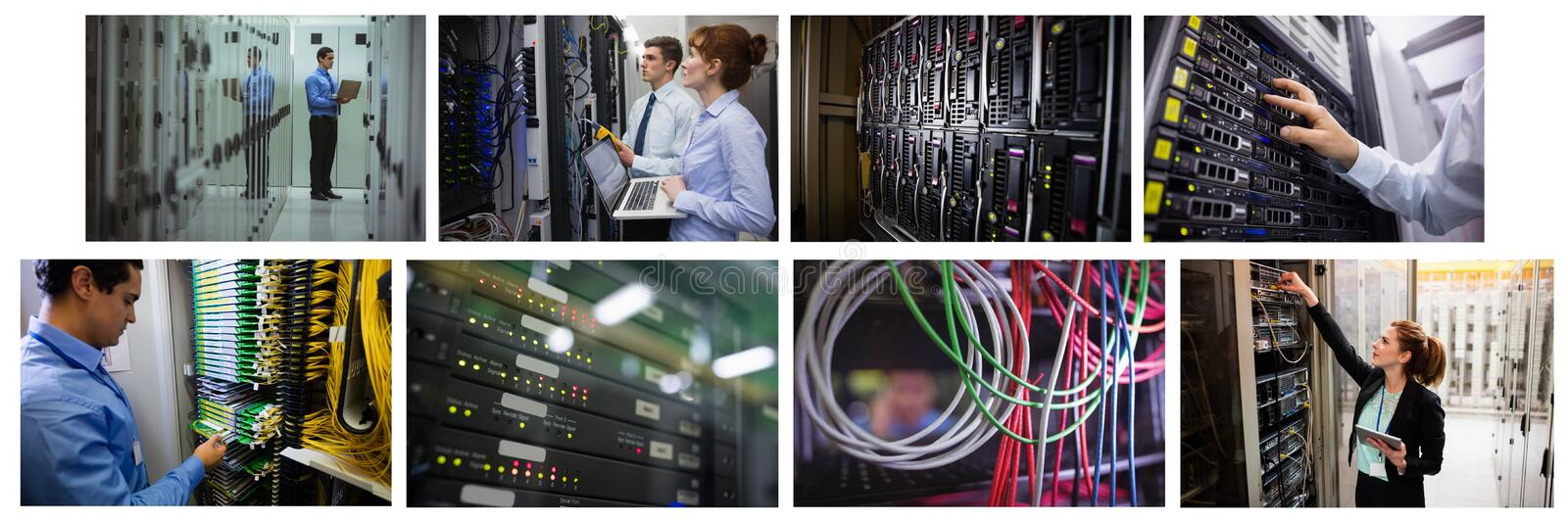 Hardware server room collage. Digital composite of hardware server room collage royalty free stock image