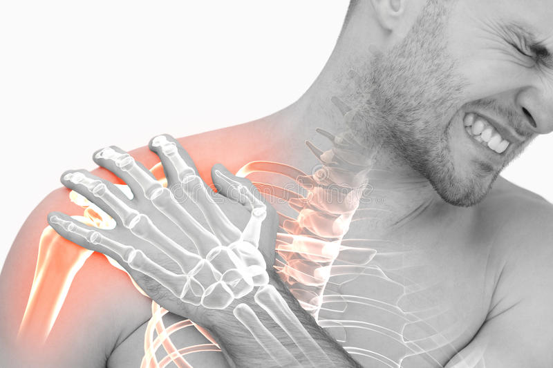 Digital composite of highlighted shoulder pain of man royalty free stock photo