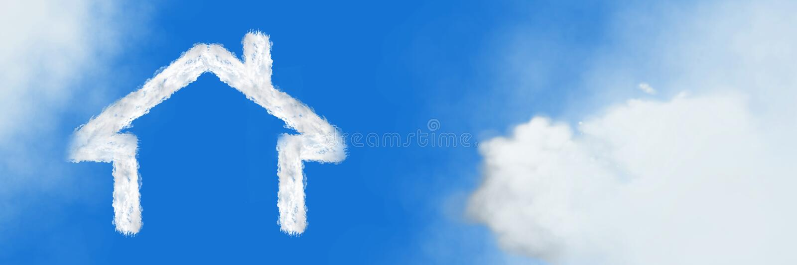 Home house Cloud Icon with sky. Digital composite of Home house Cloud Icon with sky royalty free stock image
