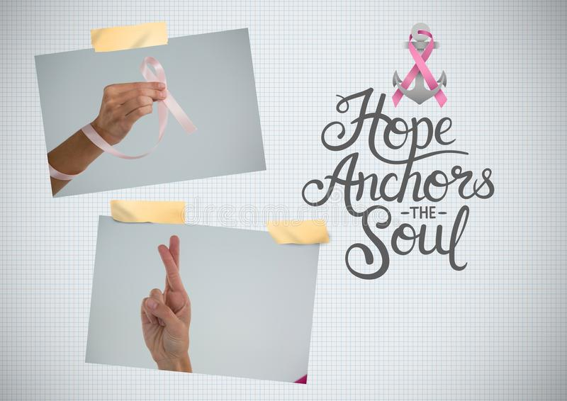Hope anchors the soul text and Breast Cancer Awareness Photo Collage. Digital composite of Hope anchors the soul text and Breast Cancer Awareness Photo Collage royalty free stock photos