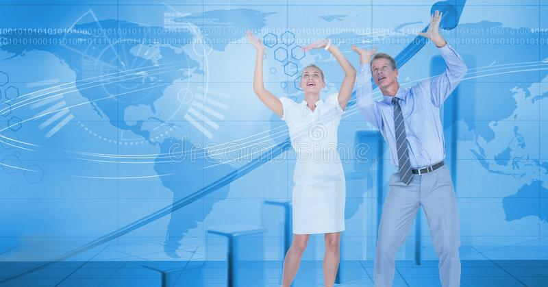 Digital composite image of business people with arms raised against map. Digital composite of Digital composite image of business people with arms raised against royalty free illustration