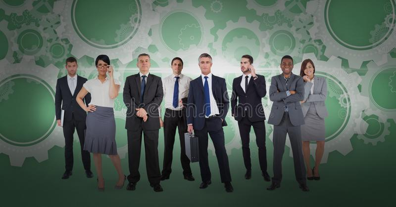 Digital composite image of business people with gear background. Digital composite of Digital composite image of business people with gear background stock illustration