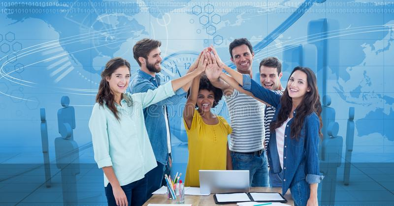 Digital composite image of business people joining hands against graphs. Digital composite of Digital composite image of business people joining hands against stock illustration
