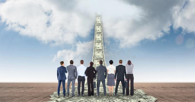 Digital composite image of business people looking at money walkway leading towards sky stock illustration
