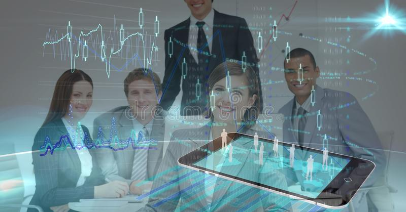 Digital composite image of business people with mobile phone and screen stock photography