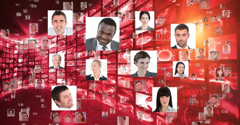 Digital composite image of business people portraits stock photo
