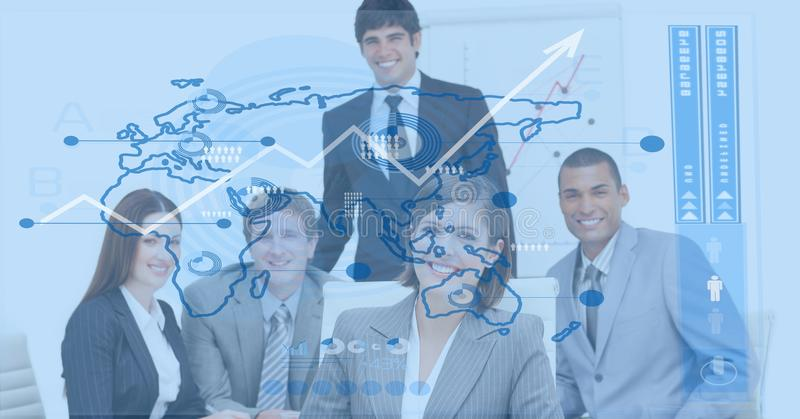 Digital composite image of business people with world map royalty free stock image