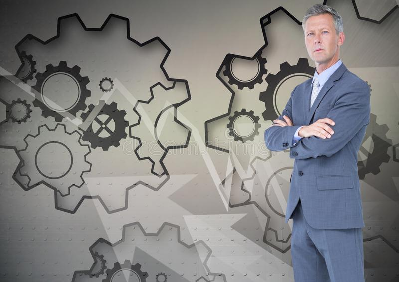 Digital composite image of businessman with arms crossed standing against gears. Digital composite of Digital composite image of businessman with arms crossed vector illustration