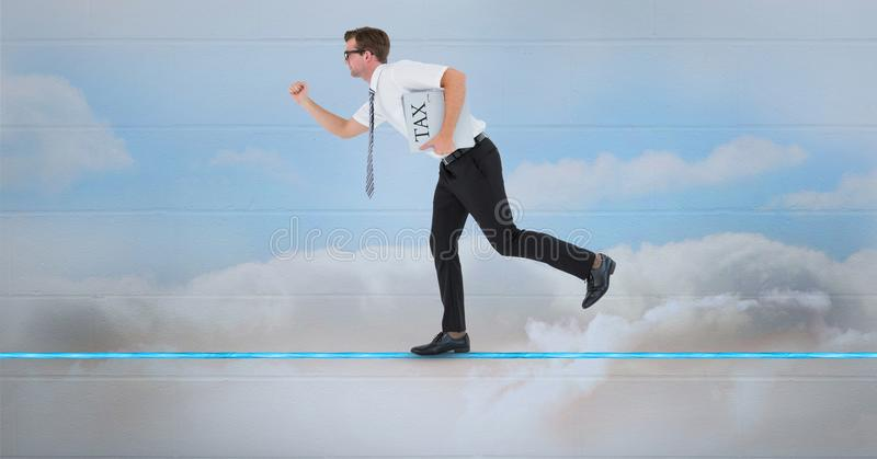 Digital composite image of businessman holding text file folder while running on the floor. Digital composite of Digital composite image of businessman holding vector illustration