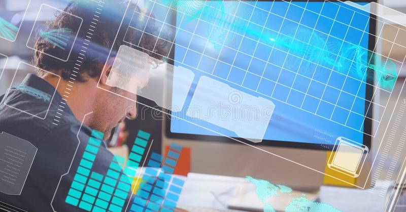 Digital composite image of businessman with LCD and futuristic screen stock photography