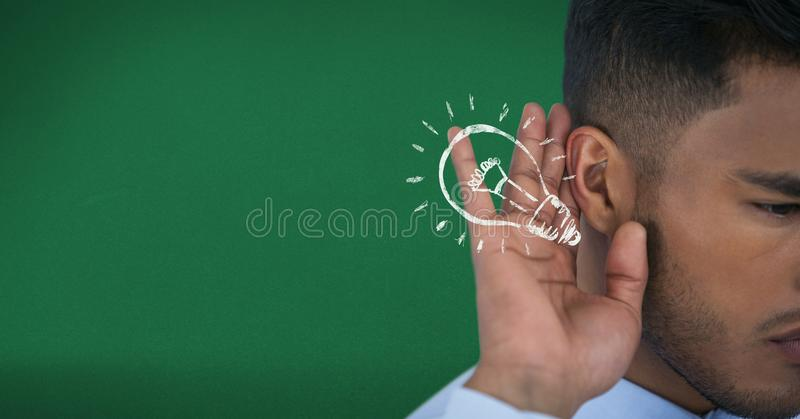 Digital composite image of businessman listening idea. Digital composite of Digital composite image of businessman listening idea royalty free illustration