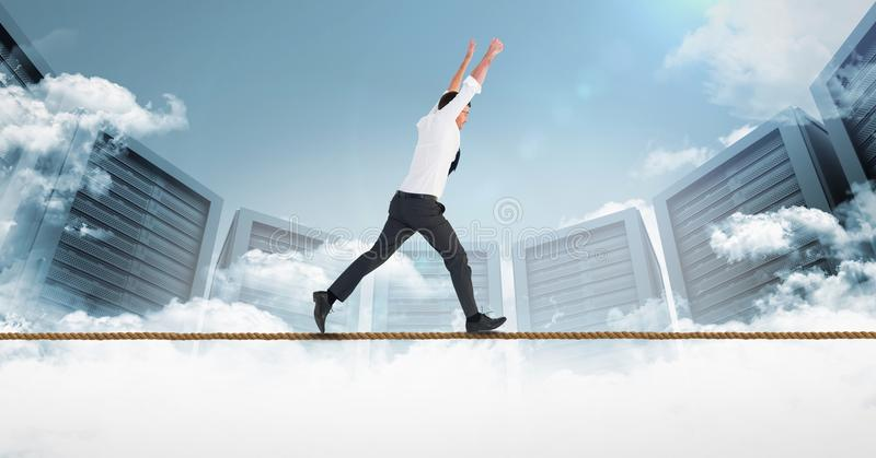 Digital composite image of businessman running on rope against servers. Digital composite of Digital composite image of businessman running on rope against royalty free illustration