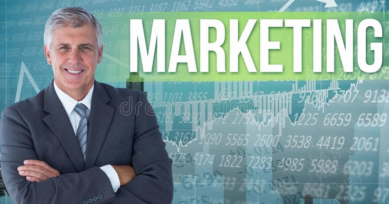 Digital composite image of businessman standing by marketing text against numerical background and g. Digital composite of Digital composite image of businessman stock illustration