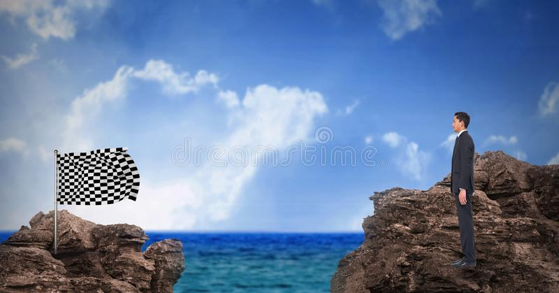 Digital composite image of businessman standing on rock looking at checkered flag standing against s. Digital composite of Digital composite image of businessman stock illustration