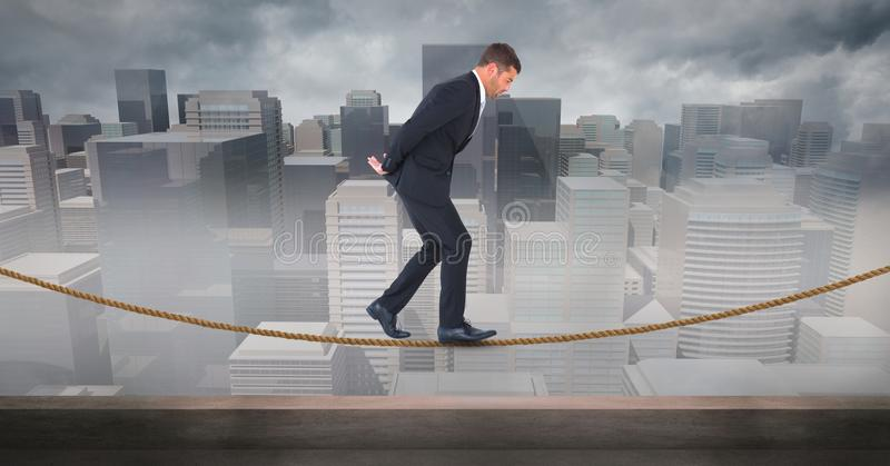 Digital composite image of businessman walking on rope against cityscape. Digital composite of Digital composite image of businessman walking on rope against vector illustration