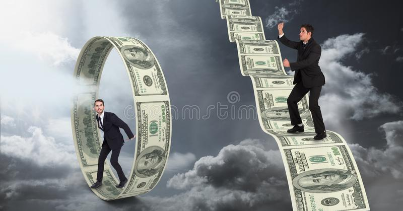 Digital composite image of businessmen standing on money. Digital composite of Digital composite image of businessmen standing on money royalty free illustration