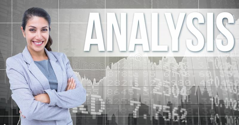 Digital composite image of businesswoman with arms crossed standing by analysis text against numbers. Digital composite of Digital composite image of vector illustration