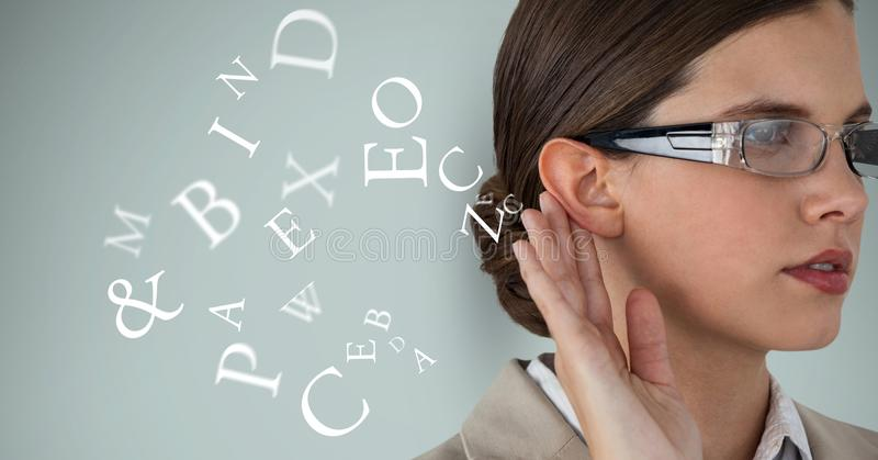 Digital composite image of businesswoman listening alphabets. Digital composite of Digital composite image of businesswoman listening alphabets vector illustration