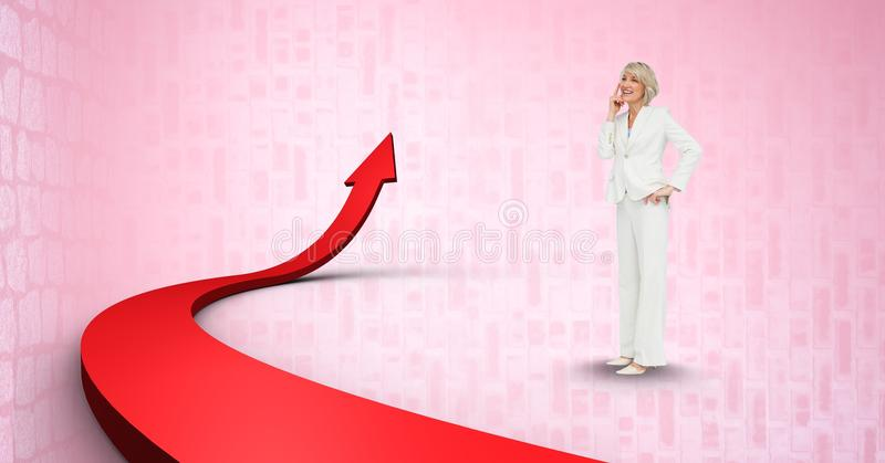 Digital composite image of businesswoman by red arrow vector illustration