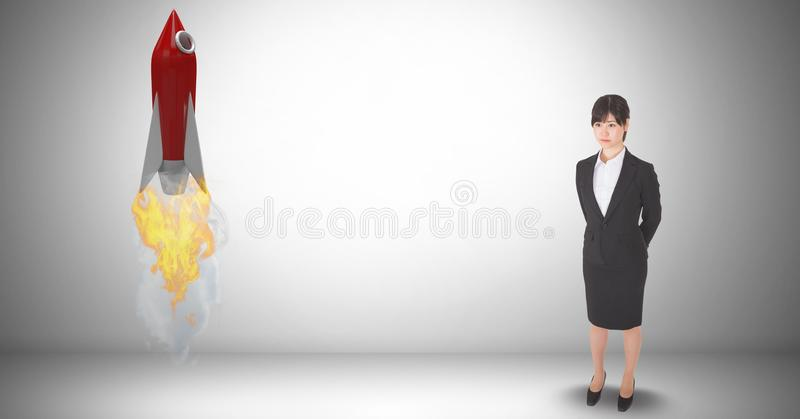 Digital composite image of businesswoman standing by rocket launch against gray background. Digital composite of Digital composite image of businesswoman vector illustration
