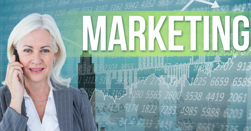 Digital composite image of businesswoman talking on phone standing by marketing text against graphs. Digital composite of Digital composite image of stock illustration