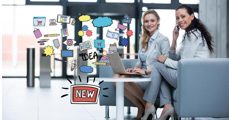 Digital composite image of businesswomen with technologies sitting by new idea icons. Digital composite of Digital composite image of businesswomen with royalty free illustration