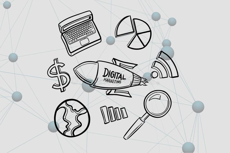 Digital composite image of digital marketing written on rocket by various icons. Digital composite of Digital composite image of digital marketing written on vector illustration