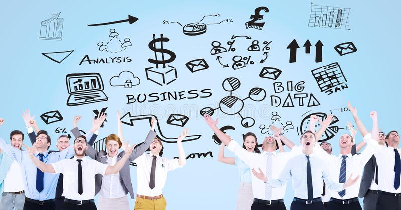 Digital composite image of excited business people with arms raised standing against business symbol. Digital composite of Digital composite image of excited stock illustration