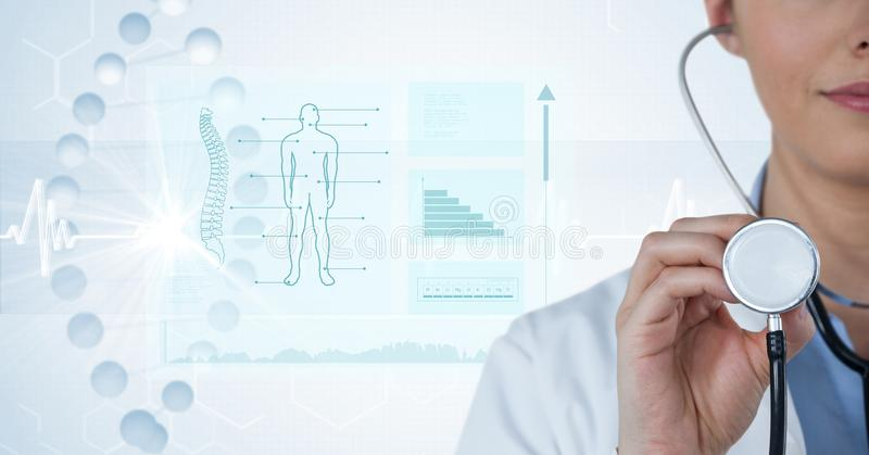 Digital composite image of female doctor with stethoscope by diagrams and graphs in background. Digital composite of Digital composite image of female doctor stock illustration