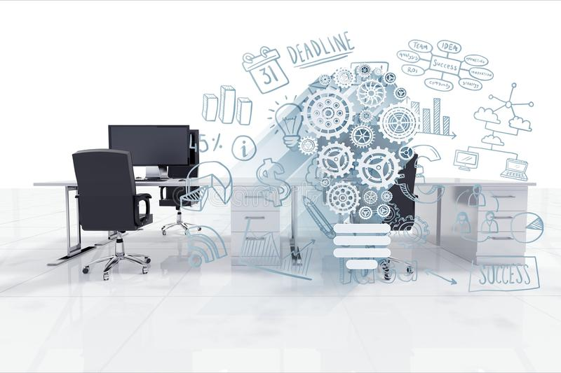 Digital composite image of gears by office chair at desk in office royalty free illustration