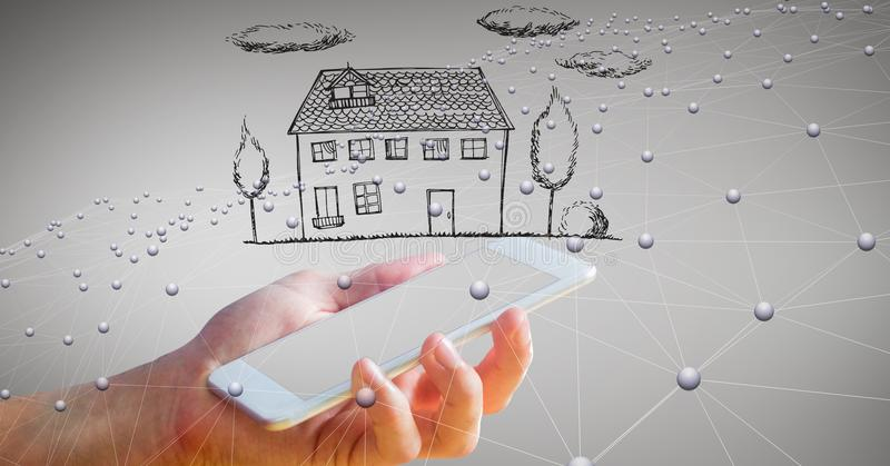 Digital composite image of hand holding smart phone with house against networking background stock images