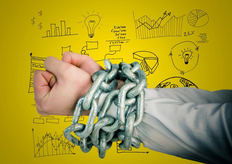 Digital composite image of hands tied with metal chain stock illustration