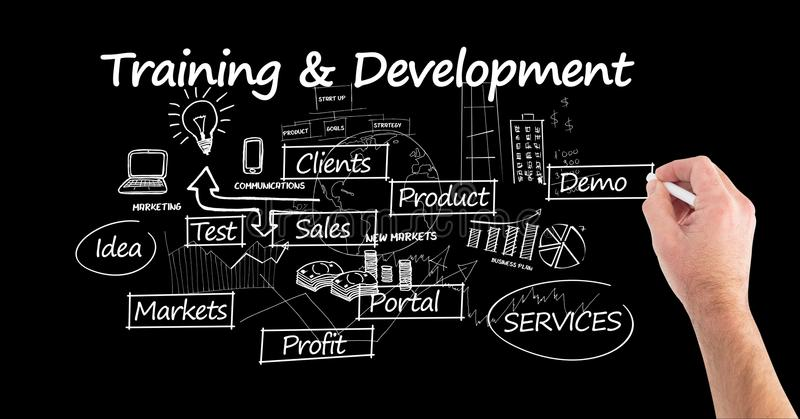 Digital composite image of man drawing training and development concept. Against black background stock images